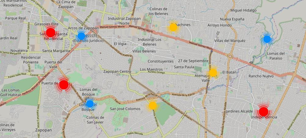 El mapa de comercios en Saltillo