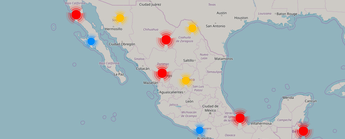 Mapa de tiendas Addiction Shoes en México